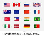 set of national flag usa ... | Shutterstock .eps vector #640035952