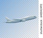 plane flies high side view ... | Shutterstock .eps vector #640042492