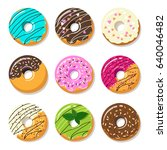 donut vector set isolated on a... | Shutterstock .eps vector #640046482