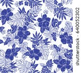 hibiscus flower pattern | Shutterstock .eps vector #640052302