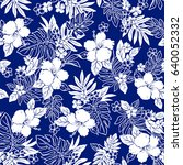 hibiscus flower pattern | Shutterstock .eps vector #640052332