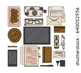 modern style office workspace...   Shutterstock .eps vector #640052956