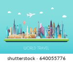 travel on the world concept.... | Shutterstock .eps vector #640055776
