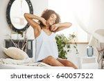 happy beautiful african girl in ... | Shutterstock . vector #640057522
