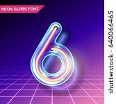 retro neon glowing glass... | Shutterstock .eps vector #640066465