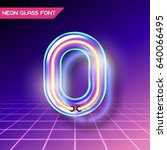retro neon glowing glass... | Shutterstock .eps vector #640066495