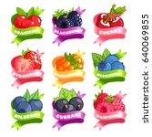 nine stickers with ribbon and... | Shutterstock .eps vector #640069855