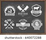 bbq  burger  grill badges. set... | Shutterstock .eps vector #640072288