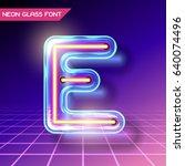 retro neon glowing glass... | Shutterstock .eps vector #640074496