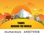 trip around the world. road to... | Shutterstock .eps vector #640074508