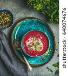 spring detox beetroot soup with ...   Shutterstock . vector #640074676