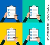 in hands clipboard checklist...   Shutterstock .eps vector #640076272