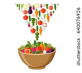 fresh vegetables salad vector... | Shutterstock .eps vector #640076926