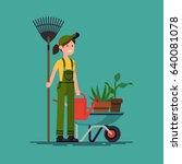 cool vector gardener character... | Shutterstock .eps vector #640081078