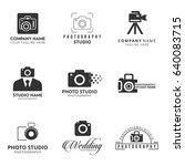 set of 9 vector black icon for... | Shutterstock .eps vector #640083715
