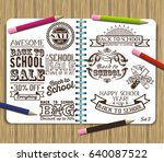 back to school label set on... | Shutterstock . vector #640087522