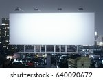 front view of empty banner on... | Shutterstock . vector #640090672