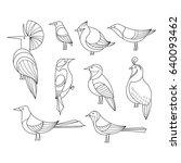 birds set. lined vector...   Shutterstock .eps vector #640093462
