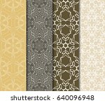 set of seamless vector patterns.... | Shutterstock .eps vector #640096948
