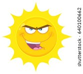 Evil Yellow Sun Cartoon Emoji...