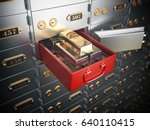 open safe deposit box with ... | Shutterstock . vector #640110415