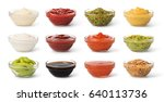 Small photo of Bowl with sauce set isolated on white background