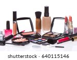 makeup set isolated on white... | Shutterstock . vector #640115146