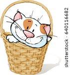 cat in basket cartoon   vector... | Shutterstock .eps vector #640116682