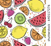 background with juicy fruits.... | Shutterstock .eps vector #640117276