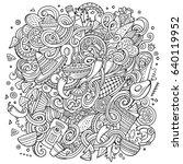 cartoon cute doodles hand drawn ... | Shutterstock .eps vector #640119952