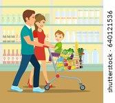 happy family doing shopping in... | Shutterstock .eps vector #640121536