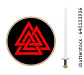 valknut symbol of the world end ... | Shutterstock .eps vector #640123936