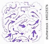 set of arrows in sketch style...   Shutterstock .eps vector #640125376
