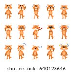 set of cartoon fox characters... | Shutterstock .eps vector #640128646