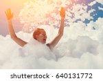 happy young woman on beach foam ...   Shutterstock . vector #640131772