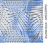 blue striped palm leaves... | Shutterstock .eps vector #640133992