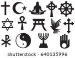world religions symbols set  ... | Shutterstock .eps vector #640135996