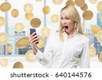 portrait of a surprised blond... | Shutterstock . vector #640144576