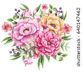 watercolor bouquet with green... | Shutterstock . vector #640147462