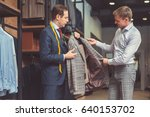 businessman and tailor with a... | Shutterstock . vector #640153702