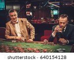 upper class friends gambling in ... | Shutterstock . vector #640154128