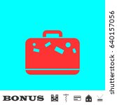 travel bag icon flat. red... | Shutterstock .eps vector #640157056