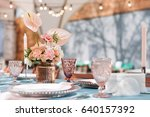flower table decorations for...   Shutterstock . vector #640157392
