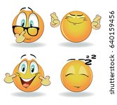 isolated vector emoticons with... | Shutterstock .eps vector #640159456