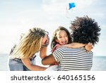 happy family flying with kite... | Shutterstock . vector #640165156