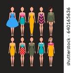 different dresses set.vector...   Shutterstock .eps vector #640165636