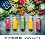 variety  of colorful smoothies... | Shutterstock . vector #640166746