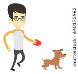 asian young man with his dog.... | Shutterstock .eps vector #640172962