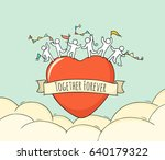 sketch of big heart with cute... | Shutterstock .eps vector #640179322