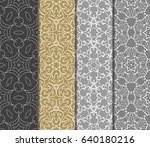 set of color geometric floral... | Shutterstock .eps vector #640180216